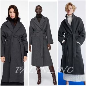 ❤️❤️ZARA LONG BELTED DOUBLE-BREASTED WRAP COAT